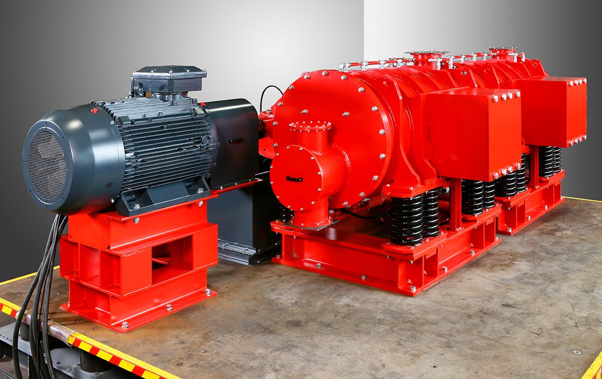 Exzenter-Schwingmühle ESM 856-2ks Ansicht auf den Antrieb, Ausgleichsmasse und Materialaustrag
