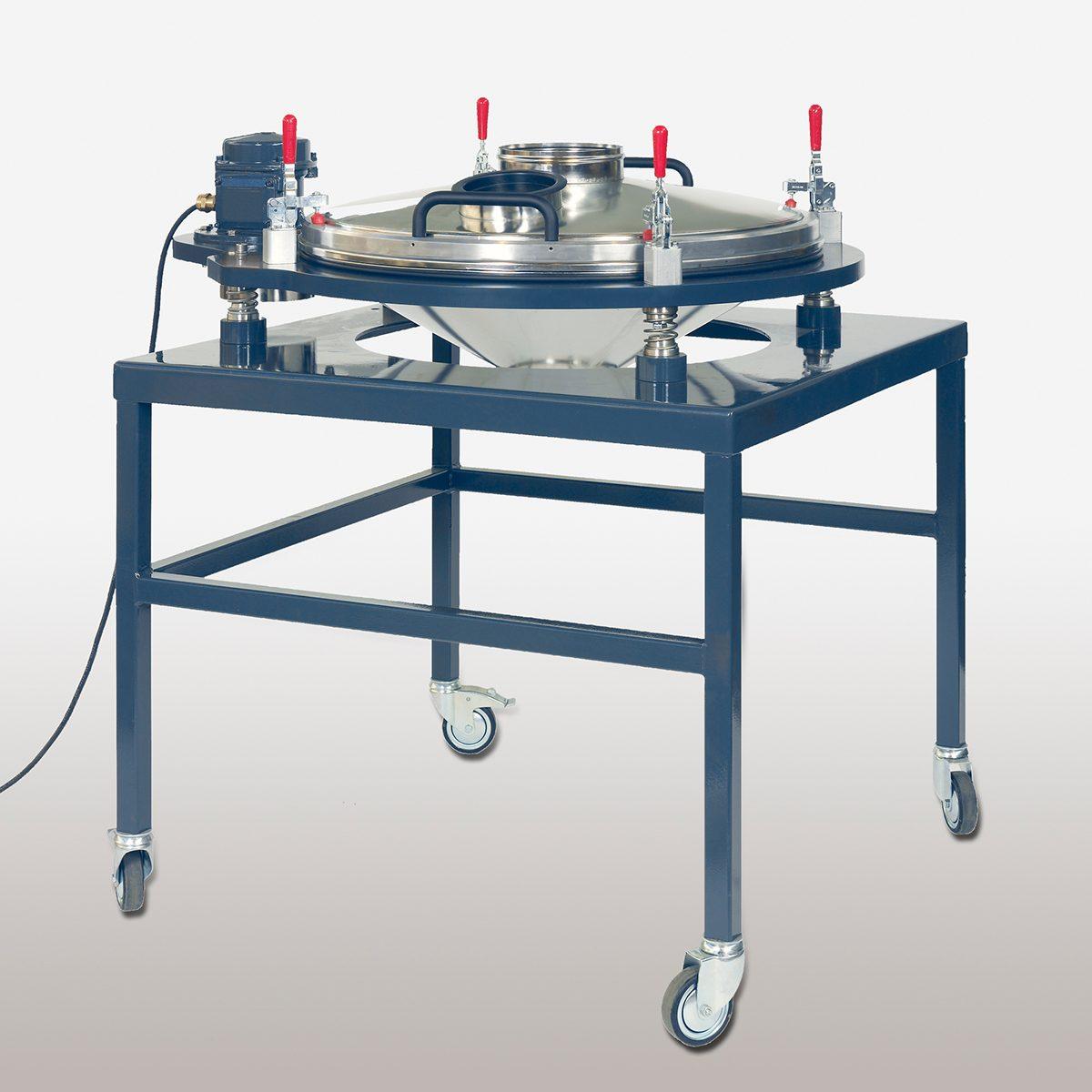 Kontrollsiebmaschine PERFLUX 801 zum Entfernen von Fremdstoffen und auf fahrbarem Untergestell