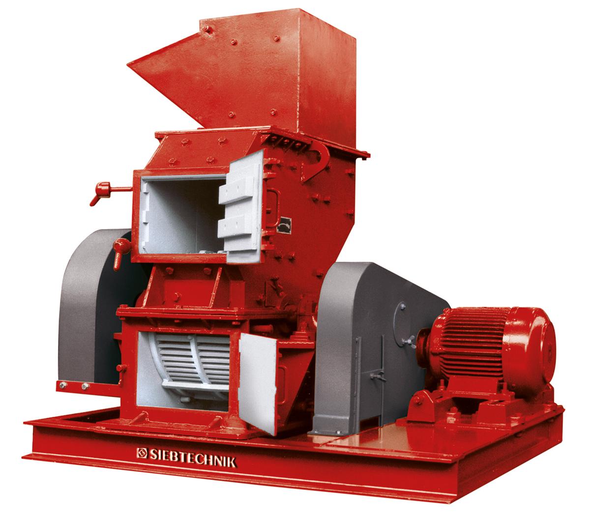 Hammerprallmühle HPM 3, Ansicht von vorn mit Aufgabetrichter