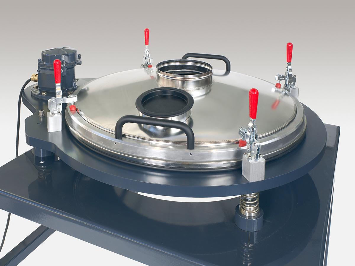 Kontrollsiebmaschine PERFLUX 801 zum Entfernen von Fremdstoffen und Agglomeraten aus Pulvern und Suspensionen