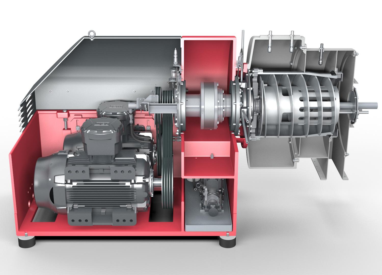 Dekantierzentrifuge SHORTBOWL - Ausführung. Ansicht auf Motor, Getriebe und Schnecke (Vereinfachte Darstellung)