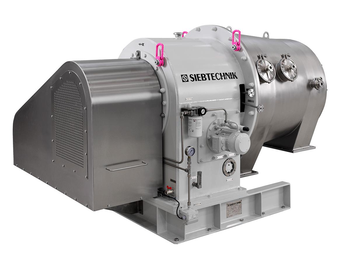 Dekantierzentrifuge SHORTBOWL SBD 600 Seitenansicht in der Ausführung für Lactose mit Getriebegehäuse