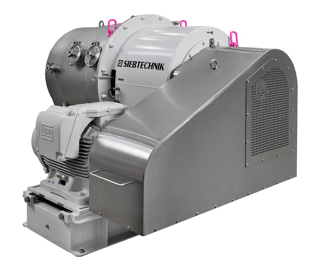 Dekantierzentrifuge SHORTBOWL SBD 600 Ansicht von Hinten in der Ausführung für Lactose mit Getriebegehäuse und Motor