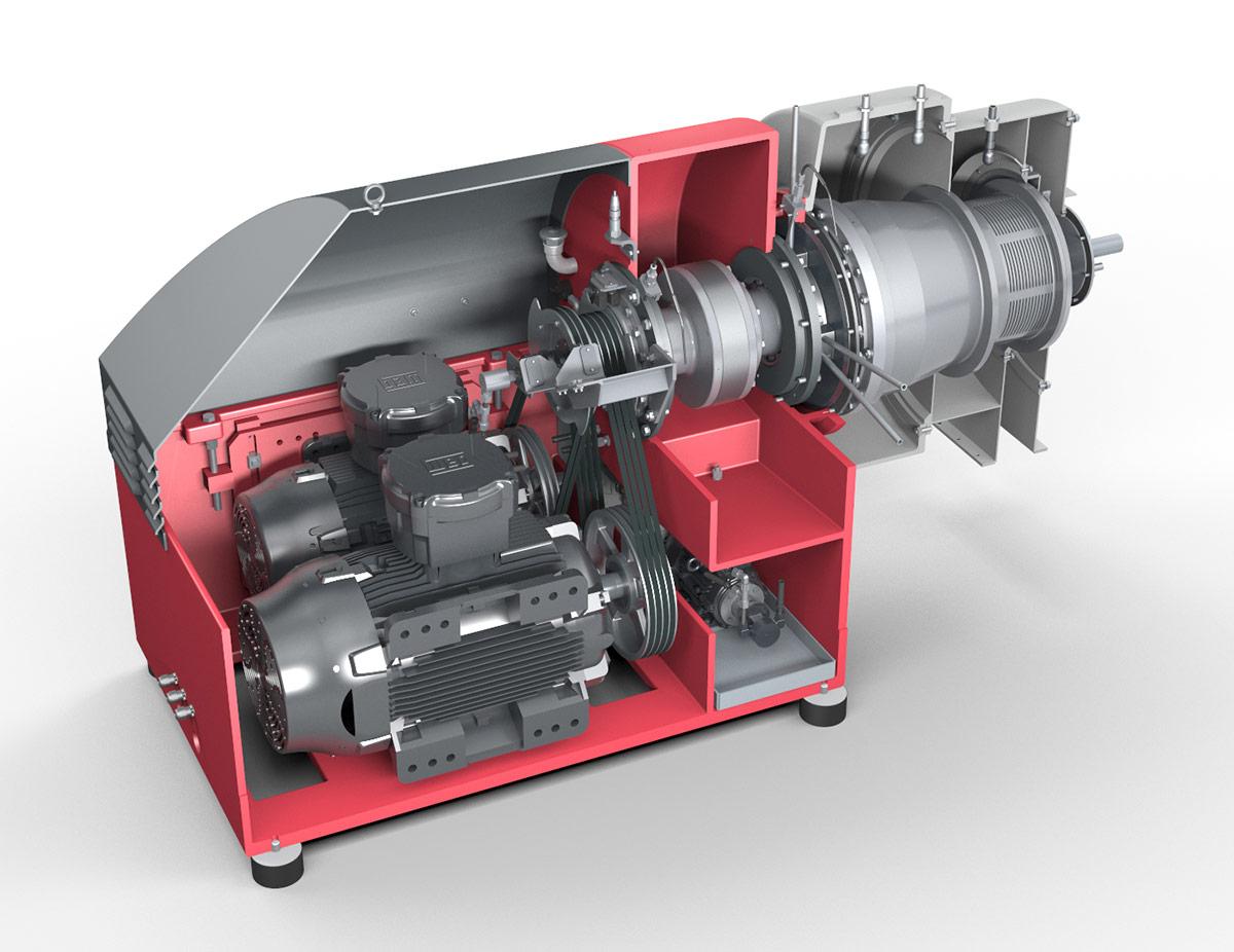 Siebdekanter CONTHICK - Ansicht auf Motor, Getriebe und Schnecke (Vereinfachte Darstellung)