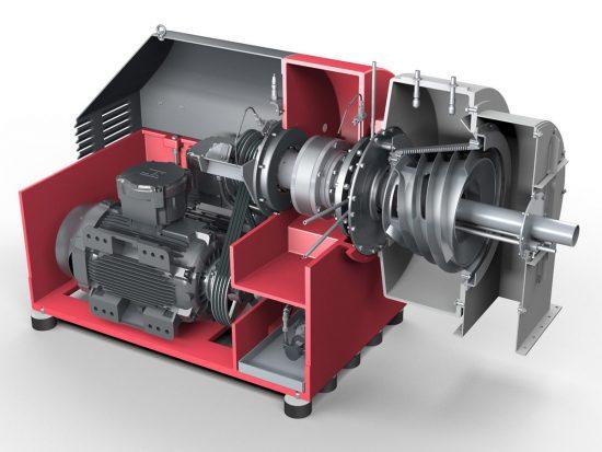 Siebschneckenzentrifuge CONTURBEX - Filtrationszentrifuge. Ansicht auf Motor, Getriebe und Schnecke (Vereinfachte Darstellung)