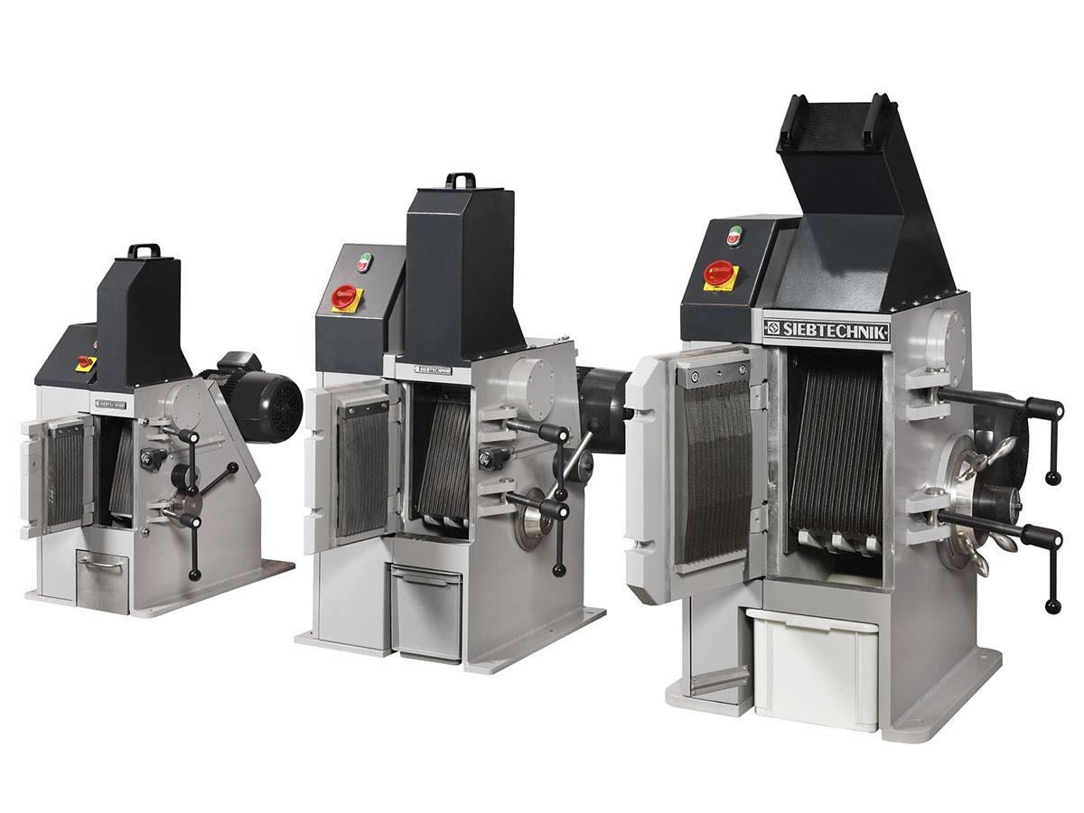 Einschwingenbrecher Typ EB 100 x 80-L, EB 150 x 100-L und EB 200 x 125-L im Größenvergleich geöffnet