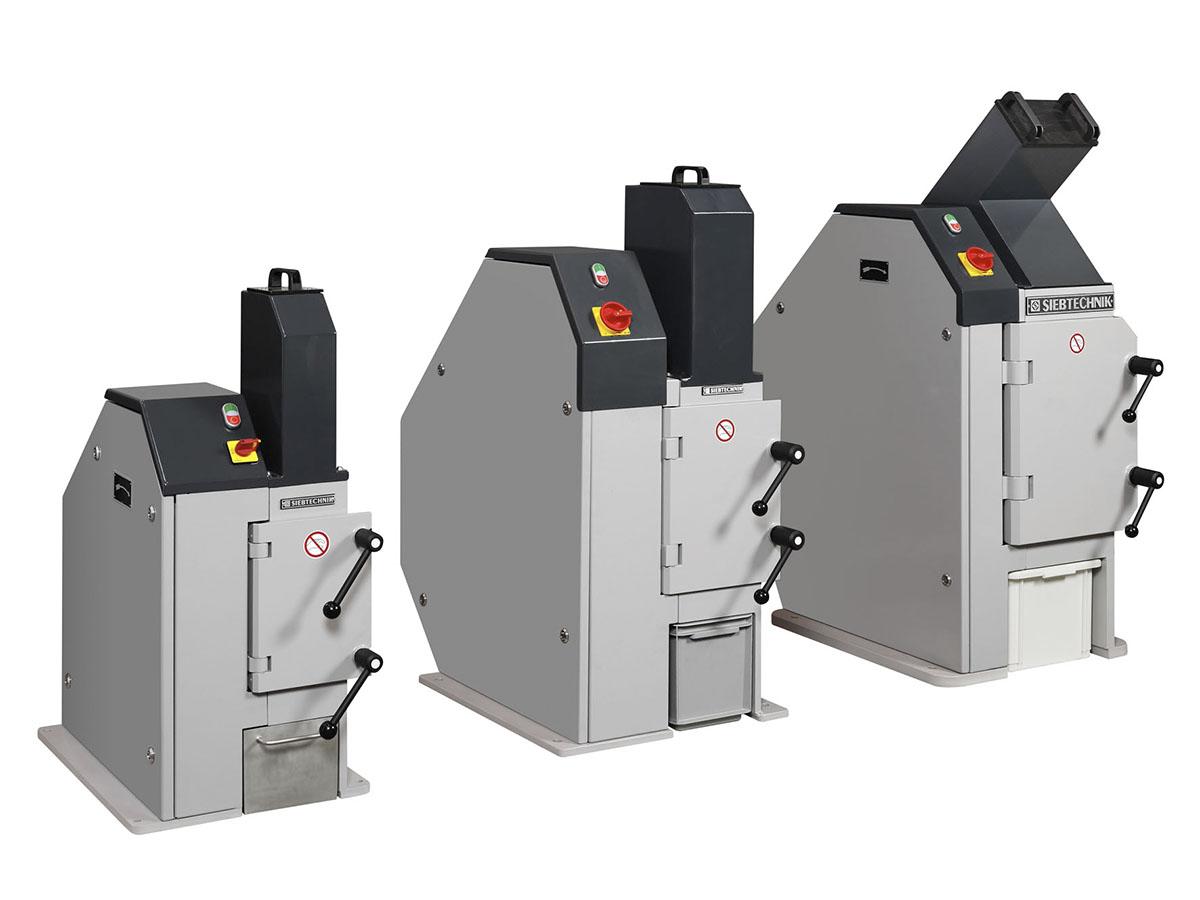 Einschwingenbrecher Typ EB 100 x 80-L, EB 150 x 100-L und EB 200 x 125-L im Größenvergleich geschlossen